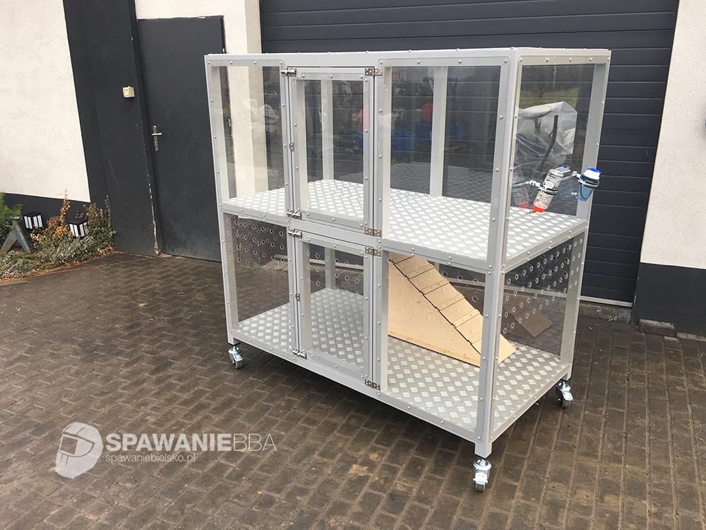 Aluminiowa mobilna klatka dla królika, zwierząt